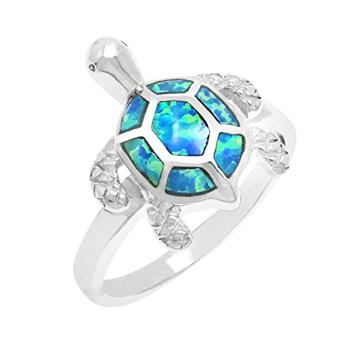 Sterling Silver Turtle Ring with Simulated Blue Opal Shell ()