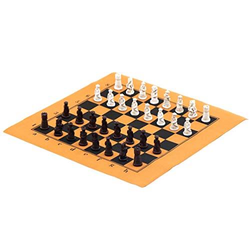 (Ireav Portable Mini International Chess Game Set Family Kids Portable Travel Chess Board Game Resin Handmade Chess Pieces Soft Chessboard Traditional Retro Black/White Chess Set)