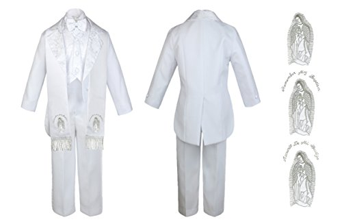 Baby Boy Christening Baptism Church White Tail suit Stole Virgin Mary Maria Sm-7 (5, Silver Spanish) by Unotux