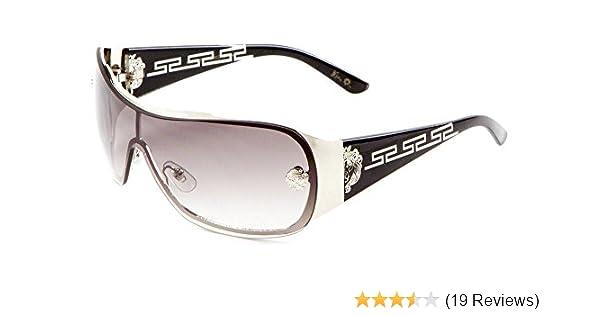 1d07f8701b Amazon.com  Kleo Greek Key Slim Shield Wrap Around Sunglasses (Black    Silver Frame