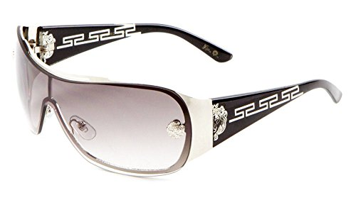 Kleo Greek Key Slim Shield Wrap Around Sunglasses (Black & Silver Frame, Grey - Sunglass Depot