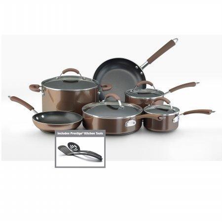 Farberware 10570 12-Piece Set Porcelain Nonstick Cookware44; Bronze