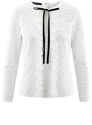 oodji Collection Mujer Blusa de Encaje con Lazos Decorativos: Amazon.es: Ropa y accesorios