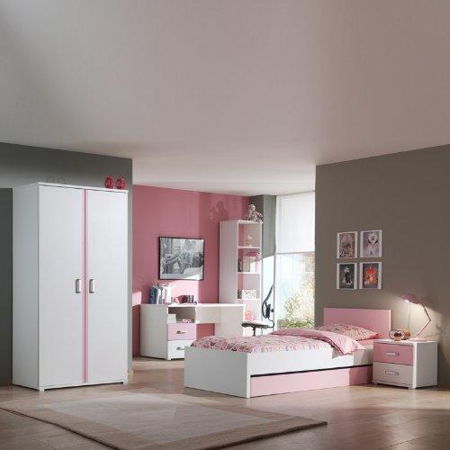 Kinderzimmer Kindermöbel Kinderzimmerset rosa weiß Kinderbett Kleiderschrank