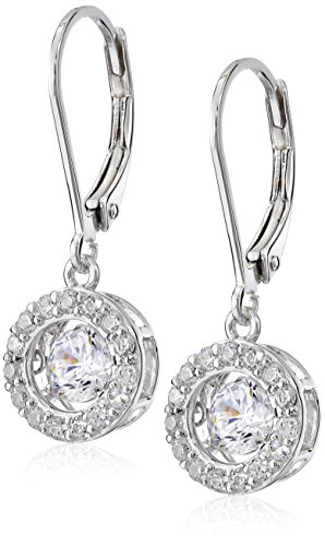 Sterling Silver Dancing Cubic Zirconia 5mm Round Halo Leverback Dangle Earrings