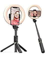 Selfie Ring Light with Tripod Stand and Phone Holder Artoful Selfie Stick with Wireless Remote and 3 Color Modes, 9 Adjustable Brightness for Tiktok, Makeup, YouTube and Vlogs