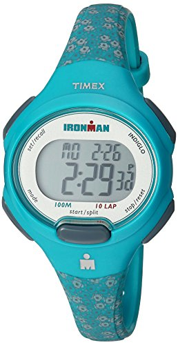 Timex Women's TW5M07200 Ironman Essential 10 Mid-Size Teal Floral Resin Strap Watch (Man Iron Watch Digital)