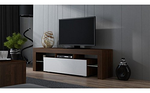 TV Stand MILANO 160 / Modern LED TV Cabinet / Living Room Furniture / Tv Console fit for up to 70'' flat TV screens / Capacity Tv Console for Modern Living Room (Walut & White) by Concept Muebles