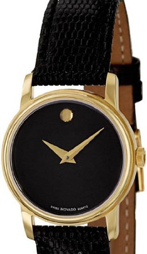 Movado 2100006 Womens Museum Gold Tone Stainless Steel Case Leather Strap Black Tone Dial Quartz (Museum Black Strap Leather)