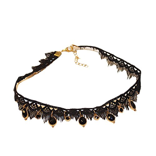 Qinlee Black Lace Necklace Clothing Accessories for Wedding Birthday Hallowen Christmas Custume ()