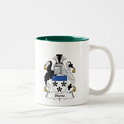 Zazzle Stone Family Crest Travel Mug, Hunter Green Two-Tone Mug 11 oz - Stone Family Crest