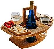 Mini bandeja portátil de piquenique para vinho removível, mini bandeja de servir com 4 células de comida, supo