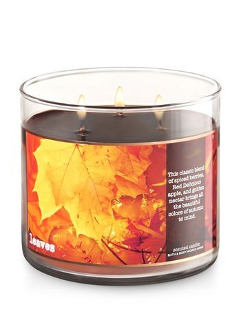 Bath & Body Works Home Leaves Scented 3 Wick 14.5 Ounce Candle Limited Edition 2017 Fall