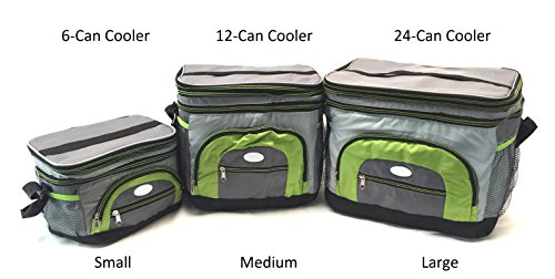 Unique Imports Handheld Soft Can Cooler Bag Expandable Top with Hard Plastic Liner Lunch Bag, Assorted Colors (Small - 6 Can Cooler) (Insulated Plastic Liner)