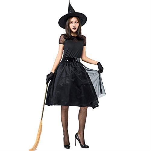 HG-amaon Disfraz de Bruja de Vestido Negro de Halloween, Traje de ...