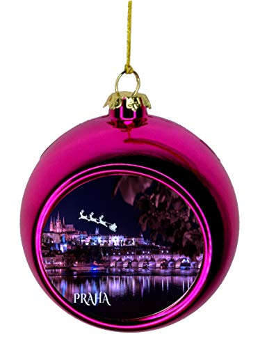- Lea Elliot Inc. Santa Klaus and Sleigh Riding Over The Charles Bridge Praha Prague Czech Republic Bauble Christmas Ornaments Pink Bauble Tree Xmas Balls
