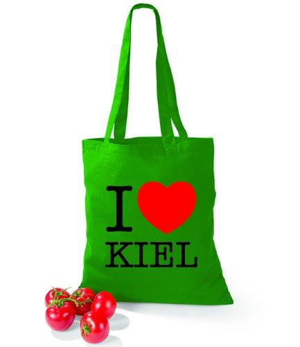Artdiktat Baumwolltasche I love Kiel Kelly Green g7p7NGcJEF