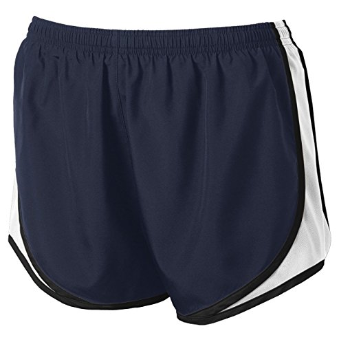 Ladies Running Short - Clothe Co. Ladies Moisture Wicking Sport Running Shorts, True Navy/White/Black, M