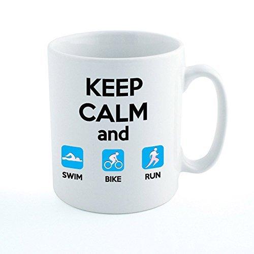 KEEP CALM AND SWIM BIKE RUN - Triathlon / Triathlete / Sport / Novelty Themed Ceramic Mug by The Classic Image - Sports Run Tri And