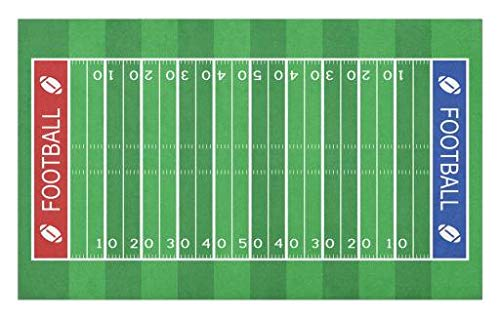 Lunarable Football Doormat, American Football Field Playground Stripes and Numbers League Scramble Score, Decorative Polyester Floor Mat with Non-Skid Backing, 30 W X 18 L Inches, Blue Red Green