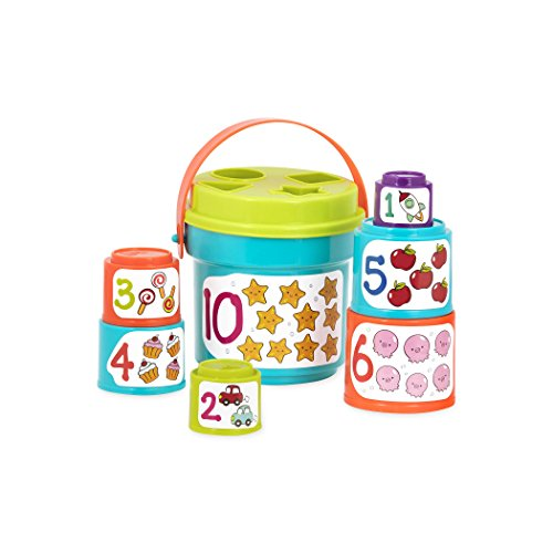 41O3AocS5PL - Battat Sort & Stack Nesting Cups – Educational Stacking Cups with Numbers and Shape Sorting – Water and Sand Play with 19 Colorful Pieces