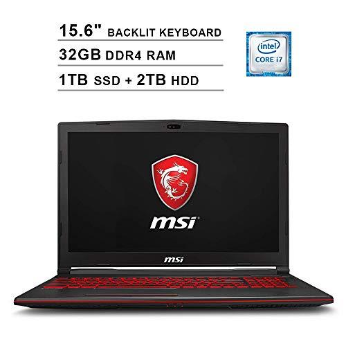 2019 Newest MSI GL63 15.6 Inch FHD Gaming Laptop (8th Gen Inter 6-Core i7-8750H up to 4.1GHz, 32GB DDR4 RAM, 1TB SSD (Boot) + 2TB HDD, NVIDIA GeForce GTX1650 4GB, Backlit Keyboard, Windows 10)