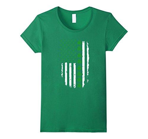 Women's St. Patrick's Day Irish American Flag Shirt Large Kelly Green
