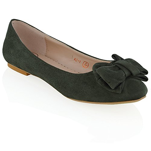 ESSEX GLAM Women's Slip On Ballet Pumps Bow Detail Flat Round Toe Ballerina Shoes Olive Faux Suede sbbEe
