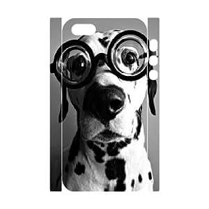 3D {Dalmatian Series} IPhone 5,5S Case Dalmatian Wears Glasses, Case Bloomingbluerose - White