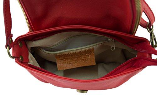 Italy Rosso Donna modello vera Tracolla in Borsa a morbida pelle Made SUPERFLYBAGS Mada MEDIA in 4nTqB6O