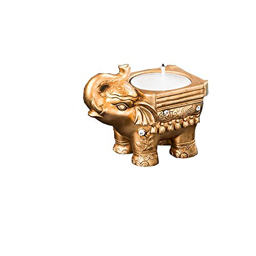 48 Fashioncraft Solid Block Poly Resin Hand Painted Elegant Gold Good Luck Indian Elephant Candle Holder Wedding Bridal Shower Baby Shower Birthday Favors ()