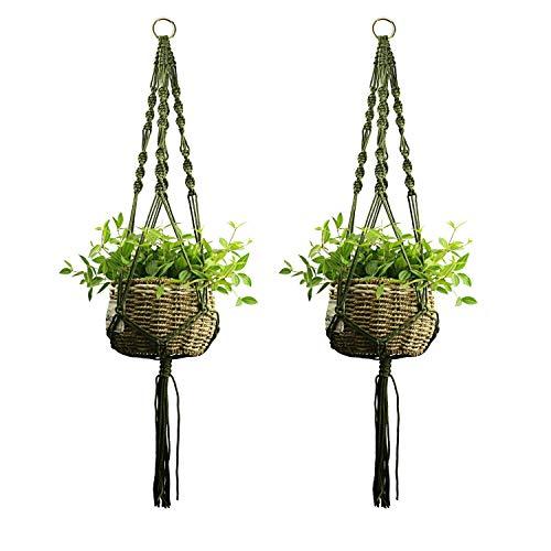 Ropesart 2 Pcs Green Macrame Plant Rope Hanger Garden Kit Mordern Style Handmade Plant Holder Unique Design Artsy Gift ()
