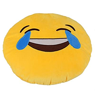 Yiwa 1 X Round Oi Emoji Smiley Emoticon Cushion Pillow Stuffed Plush Toy Doll Yellow(tears of Happiness+Free Transformers Key Chain): Toys & Games