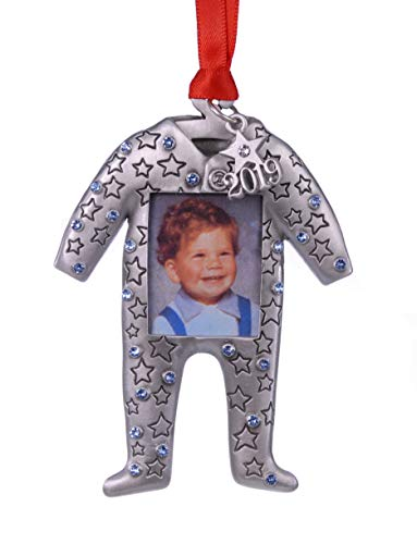 2019 Baby Boy Photo Christmas Ornament Pewter with Sapphire color Austrian Crystals MADE IN USA