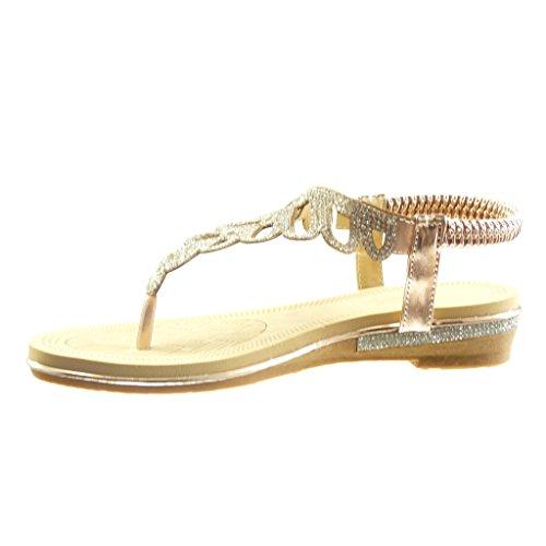 Angkorly - Scarpe da Moda sandali cinturino slip-on donna strass intrecciato Tacco a blocco 4 CM - Champagne