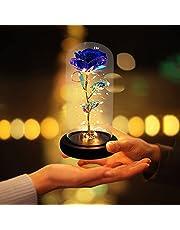 JOBOSI Purple Roses Glass Night Light,Room Decor,Best Gift for Mom,Gift for Girlfriend,Crystal Rose with Light,Girlfriend,Wife,Fade Rose for Mother's Day,Anniversary,Birthday,Valentine's Day.