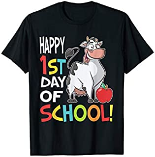 Happy 1st Day of School  Back to School Cow T-shirt   Size S - 5XL