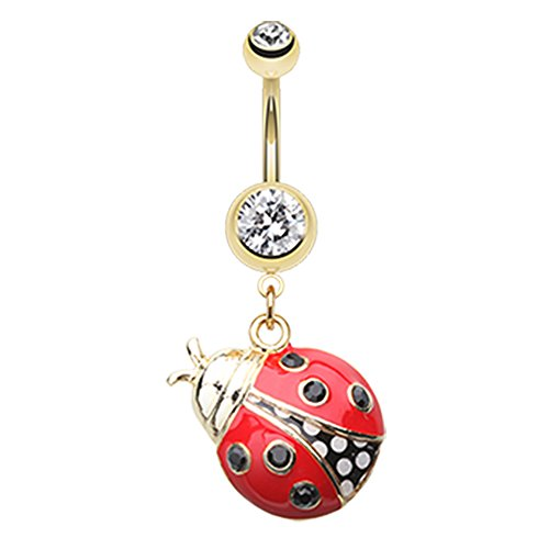 Inspiration Dezigns Gold Clear/Red Ladybug Dangle Belly Button Navel Rings Barbell Stud