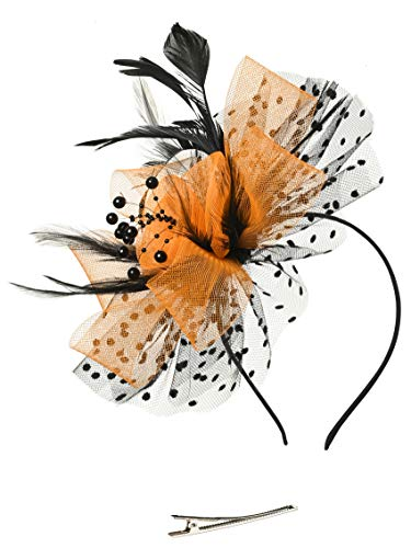 Fascinators Headband Tea Party Hats for Women Royal Wedding Hat Feather Mesh Hair Clip (1-Black and -