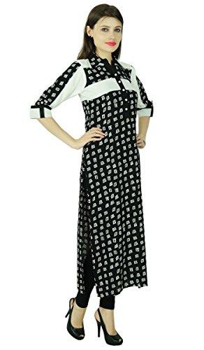 Ethnic 3/4 Sleeve Kurti Bollywood Spiral Rayon Tunic Kurta Women Dress Top