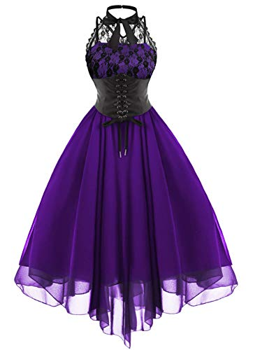 Tecrio Women Western Gothic Masquerade Custome Halter Sleeveless Corset Dress S Purple ()