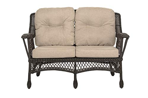 W Unlimited Outdoor Garden Patio Cappuccino Furniture Loveseat Chair, Dark Brown