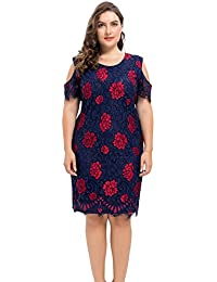 Womens Plus Size Lined Floral Printed Off Shoulder Lace Dress - Knee Length Casual Party Cocktail