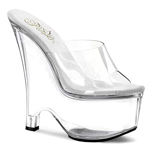 (Pleaser Women's Beau-601 Platform Wedge Sandal,Clear/Clear,7 M US)