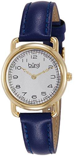 Burgi Women's BUR121BU Classic Two-hand Yellow Gold & Blue Leather Strap Watch