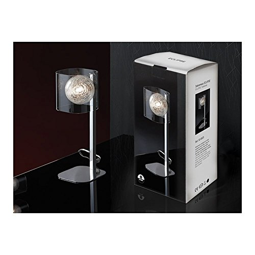 Schuller Spain 506625I4L Modern Chrome Cube Table Lamp 1 Light Living Room, bed room, Study, Bedroom LED, Glass shade cube desk lamp   ideas4lighting by Schuller