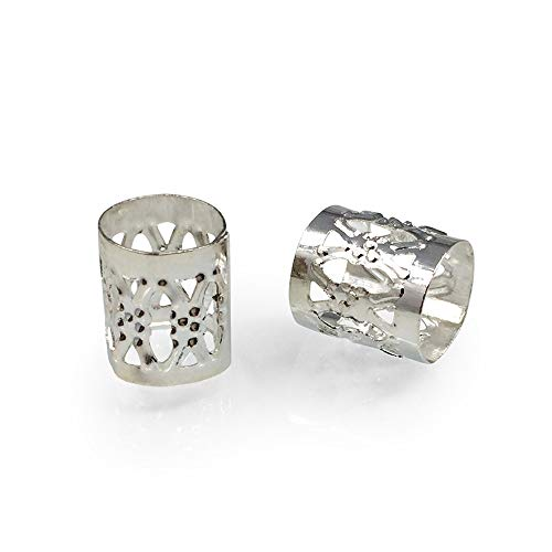 8mm Filigree Tube Spacer Large Hole Metal Beads (Size ~7mm) | Sterling Silver Plated CF215-S ()