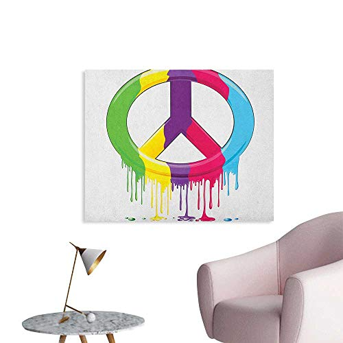 Anzhutwelve Groovy Art Decor Decals Stickers Digital Peace Symbol Dripping Paint Liquid Colors Pacifism Themed Old Movements Poster Paper Multicolor W36 xL32