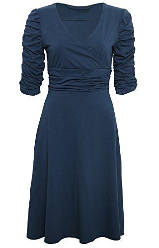 Manga Vestido Retro Marino Casual Azul 4 Fiesta 3 DELEY Mujer Elegante V Cóctel Cuello Dress 856n6BqZw