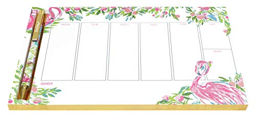 Lilly Pulitzer Undated Weekly Planner Desk Pad and Black Ink Pen, Notepad Includes 52 Sheets for 1 Year of Planning, Floridita